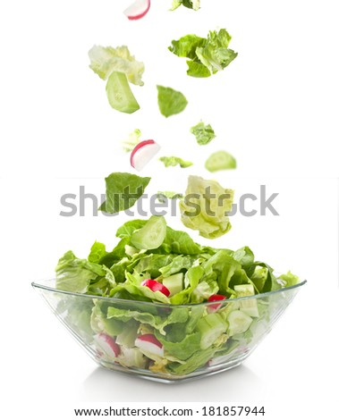 fresh salad in a glass plate - stock photo