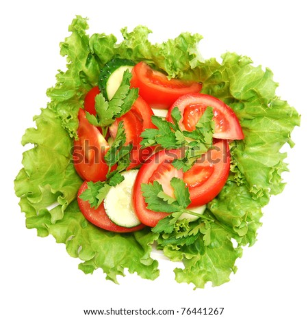 fresh salad in a plate - stock photo