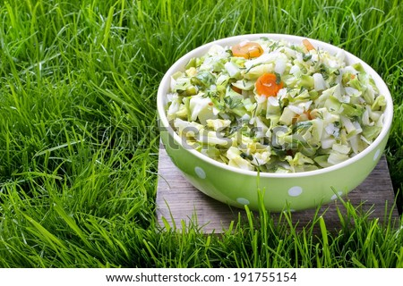 Fresh salad in green dotted bowl  - stock photo