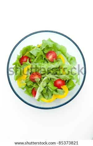 fresh salad isolated on white background - stock photo