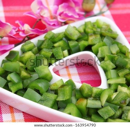 fresh salad of green paprika