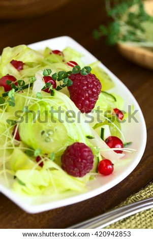 Fresh salad of raspberry, gooseberry, redcurrant, cucumber and iceberg lettuce sprinkled with chia sprouts, photographed with natural light (Selective Focus, Focus on the raspberry in middle of salad)