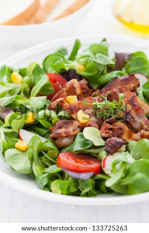 fresh salad with bacon