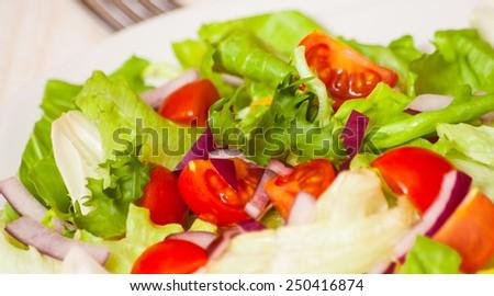 fresh salad with cherry tomatoes - stock photo