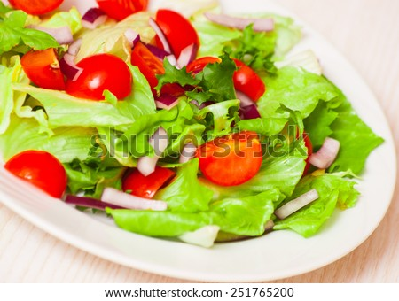 fresh salad with cherry tomatoes - stock photo