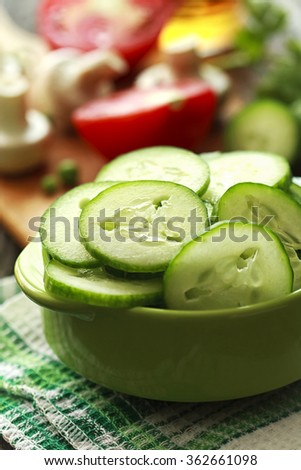 fresh salad with cucumbers-salad-meals - stock photo
