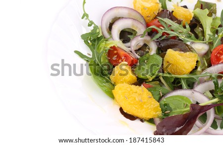 Fresh salad with cumin. Close up. Whole background.