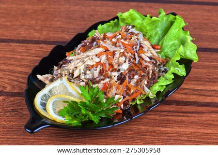 Fresh salad with funchozy, meat and vegetables - stock photo