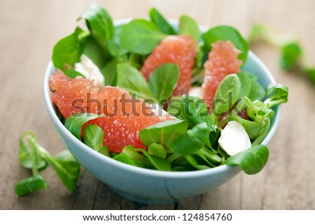 fresh salad with grapefruit - stock photo