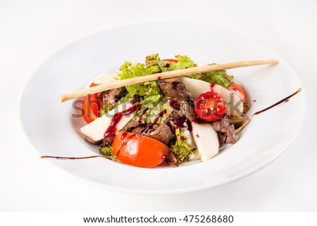 fresh salad with liver and apple isolated on white background