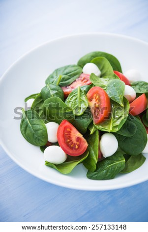 Fresh salad with mozzarella cheese, tomato and spinach on blue wooden background close up. Healthy food. - stock photo