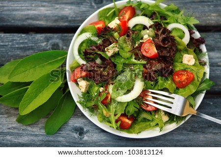 Fresh salad with tomatoes and cucumbers. green - stock photo