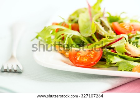 Fresh Salad with tomatoes on white plate and fork next to it - stock photo