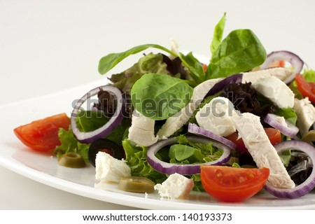 fresh salad with vegetables and chicken