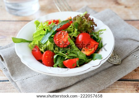 Fresh salad with vegetables, healthy food