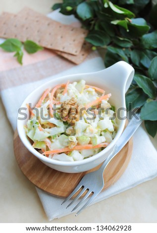 Fresh salad with white cabbage, carrot, apples and pears with walnuts and yogurt dressing in a bowl - stock photo
