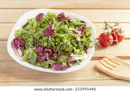Fresh salad with wooden spoon on a kitchen table - stock photo