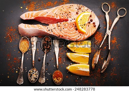 Fresh salmon and spices  - stock photo