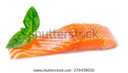 Fresh Salmon Fillet, steak, ready to cook. Isolated on white background. - stock photo