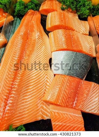 fresh salmon meat  displayed on ice in the super market