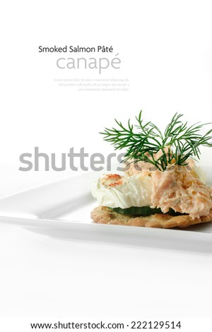 Fresh salmon pate canape with cream cheese and dill garnish against a white background. Copy space. - stock photo