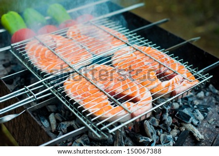 Fresh salmon stakes on a barbeque clamp - stock photo