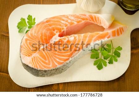 Fresh salmon steak - stock photo