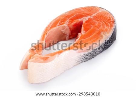 Fresh salmon steak isolated on white - stock photo