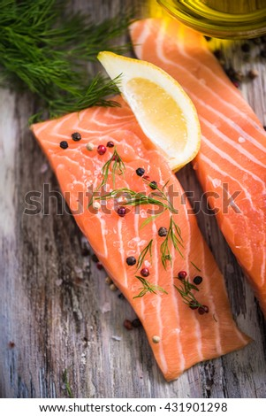 fresh salmon steaks with herbs and spices