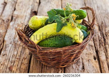 Fresh salted cucumbers in the basket on the wooden background - stock photo