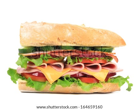 Fresh sandwich. Isolated on a white background.