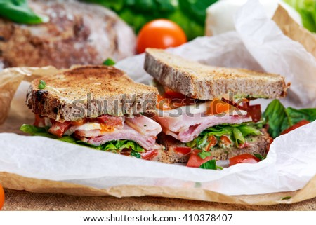 Fresh Sandwich with Bacon Lettuce Tomato and Mozzarella