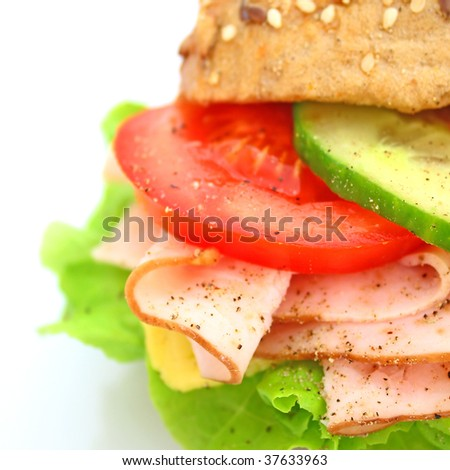 Fresh sandwich with ham and cheese and vegetables