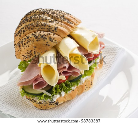 Fresh sandwich with ham, cheese and tomato close up
