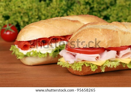 Fresh sandwiches with ham and smoked salmon, selective focus - stock photo
