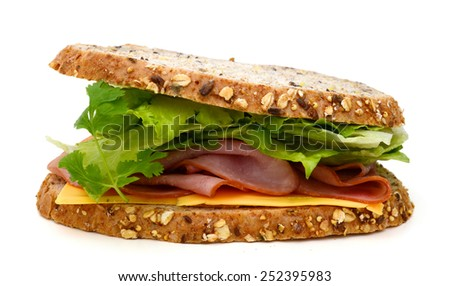 fresh sanwich with ham, cheese, salad isolated on white