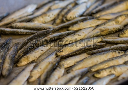 Fresh sardine, seafood, preparing for frying.