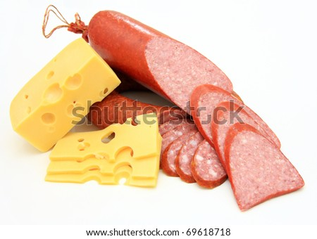 Fresh sausage with cheese on a white background - stock photo