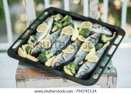 Fresh sea fishes with lemon and broccoli in baking tray ready for baking