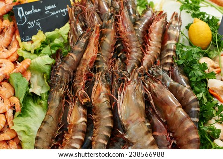 Fresh sea-food, mediterranean royal shrimps for sale on market in French Provence - stock photo