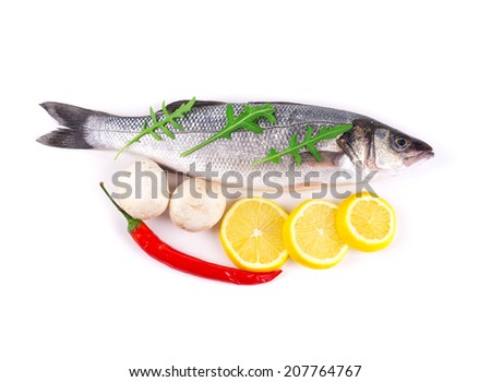 Fresh seabass fish. Isolated on a white background.