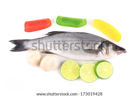 Fresh seabass fish with lemon. Isolated on a white background.