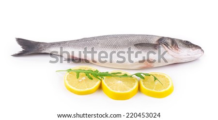 Fresh seabass fish with lemon. Isolated on a white background