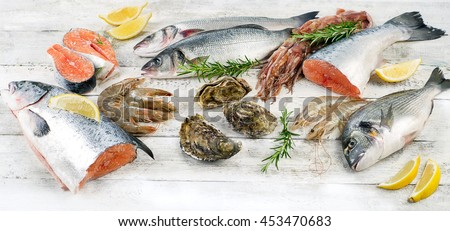 Fresh seafood. Healthy diet eating. Flat lay
