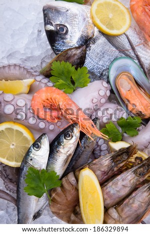 Fresh seafood on ice, close-up. - stock photo