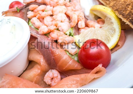 Fresh seafood salad with smoked salmon