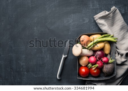 Fresh seasonal vegetable cooking - stock photo