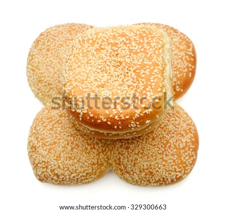 fresh sesame buns on white background