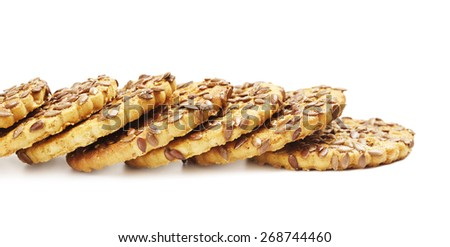 fresh sesame cookies, isolated on white background