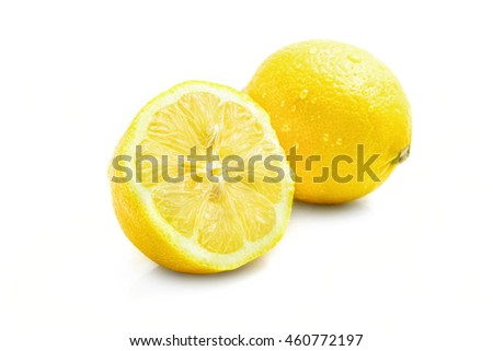fresh shiny lemon with drops, with shadow, isolated on white background